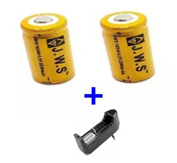 2 Bateria Cr123a Recarregável 16340 + Carregador C