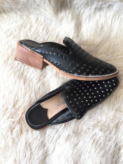 Zapatos Mujer Negro Sleper Con Taco Cuadrado Y Capellada