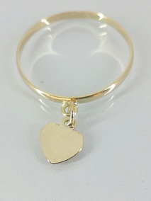 Anel Ouro 416 10 K Coração Pendurado