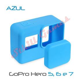 Capa Protetora + Tampa Em Silicone Gopro Hero 5, 6 E 7 Azul