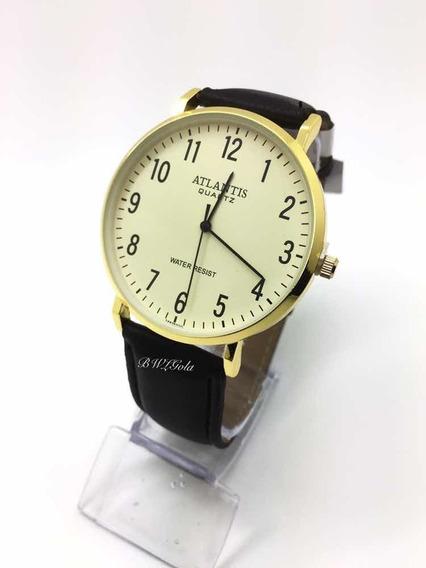 Relógio Atlantis Social Branco Dourado Pulseira De Couro
