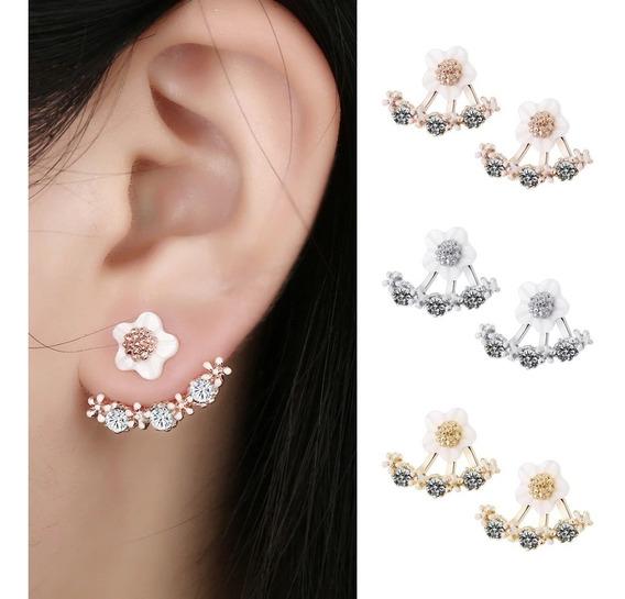 Brinco Feminino Ear Jacket Ear Cuff Dourado Formato Flor