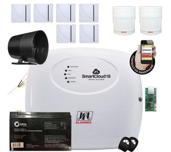 Kit Alarme Sem Fio Jfl 6 Sensores Porta/janela 2 De Presença