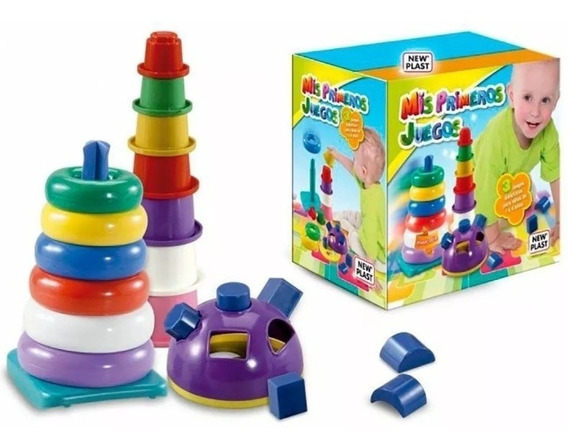 Torre Apilable Encastre 3 En 1 Mis Primeros Juegos New Plast