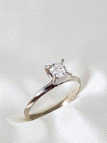 Anel Solitário Moderno Ouro Branco Com Diamante De 40 Pontos