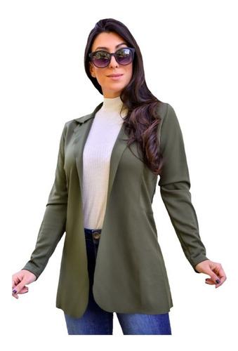 Blazer Feminino Max Acinturado Sobretudo Longo Neoprene Moda