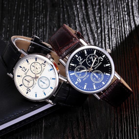 Relógio Luxo Masculino Geneva Pulso Pulseira Couro