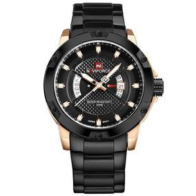 Relógio Naviforce 9085 Masculino Original Preto Com Dourado