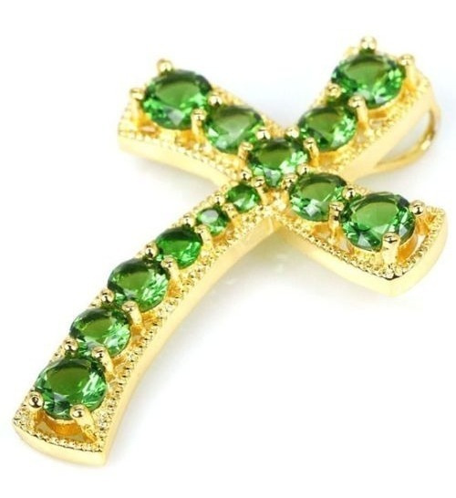Crucifixo Pingente Em Pedras E Ouro Branco Dourado