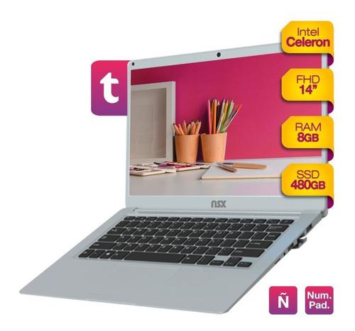 Imagen 1 de 3 de Notebook Intel Celeron 8gb Ram Solido Ssd 480gb 14 Hd Win10