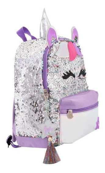 Mochila Footy Fashion Unicornio Lentejuelas Revers 12¨ Orig