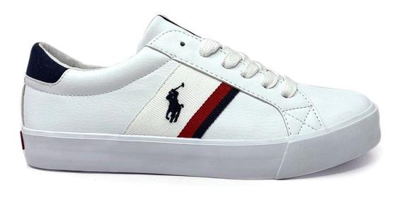Tenis Polo Ralph Lauren Unisex Color Blanco Con Agujetas
