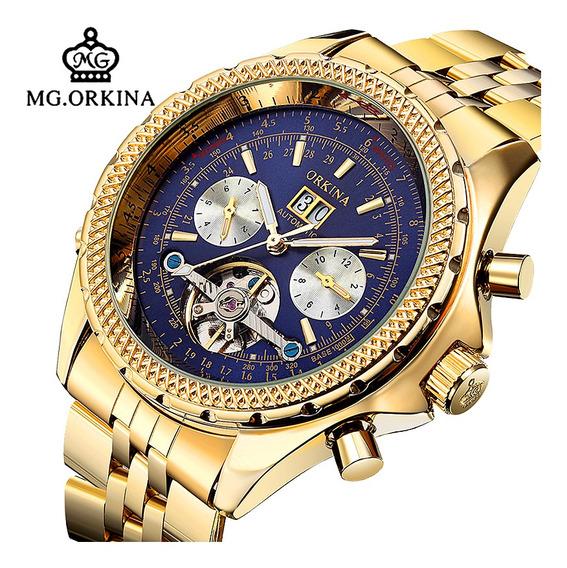 Orkina Homens Relógio Mecânico Automático Azul Discagem Vidr