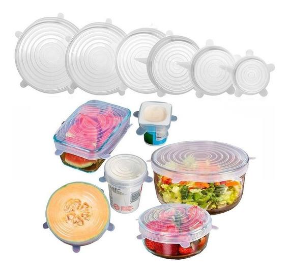 Tapas Silicona Multiuso X6 Ajustable Frutas Verduras Bowls