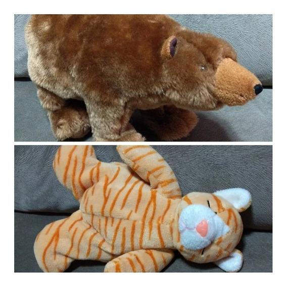 Lote 2 Bichinhos Animais Pelúcia Semi-novos Urso E Gato