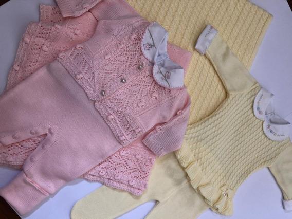 Kit 2 Saída Maternidade Bebe Menina Completas Trico Tricot