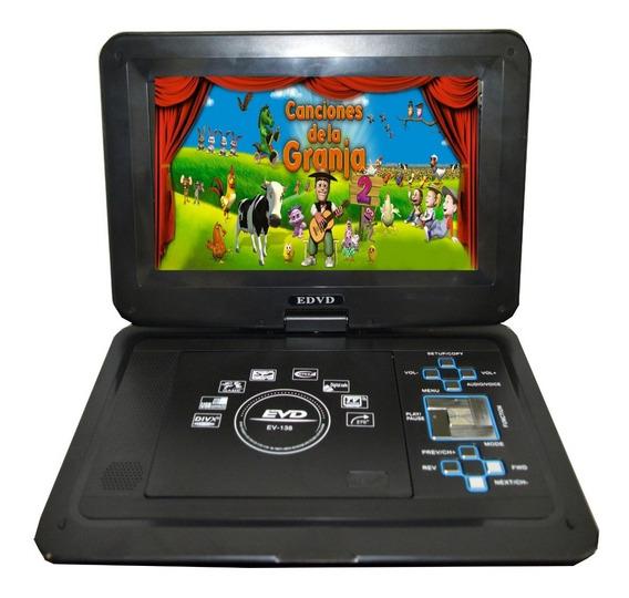 Dvd Portatil Pantalla Auto Grande Led Hd Tv Usb Sd + Consola Video Juegos Y Joystick Reproductor Peliculas Musica Viajes