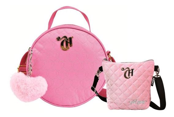 Bolsa Capricho 11354 Rosa + Bolsa Pochete Veludo + Chaveiro