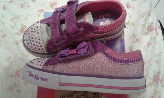 Tênis Infantil Skechers Twinkle Toes Pink/purple Com Luzes