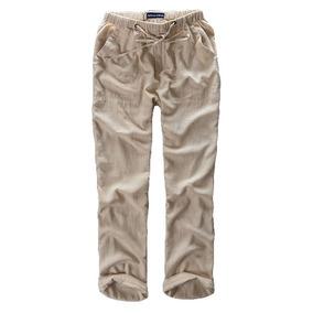 fc8b2cfbfd De Los Hombres Lino Playa Pantalones Verano Casual Blanco De
