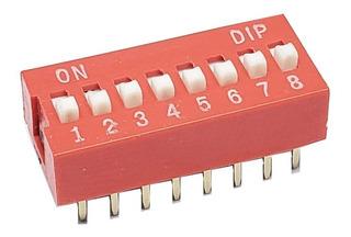 Pack X 5 Interruptor Dip Switch 8 Posiciones 2.5mm Rojo