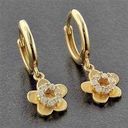 Brinco Argola De Ouro 18k Flor De Diamantes Naturais Br43jk