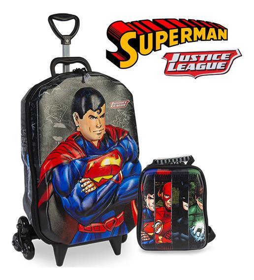 Mochila De Carrinho Liga Da Justiça Lancheira Em 3d Superman