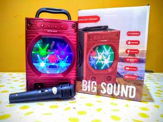 Parlante Bluetooth Portatil Con Luces + Micrófono