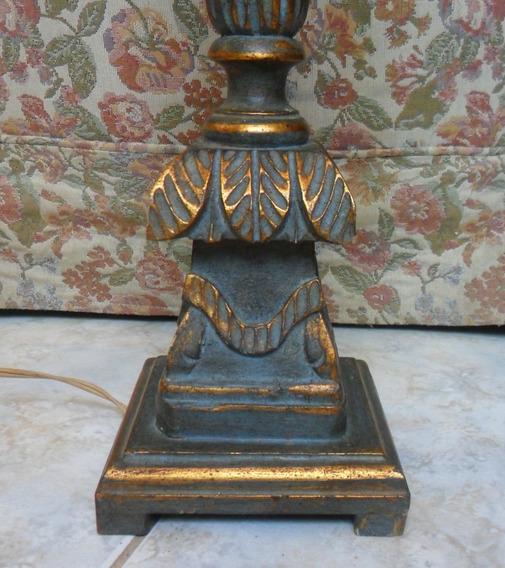 Abajur Antigo Em Madeira Tocheiro Art Nouveau - V E J A !!!