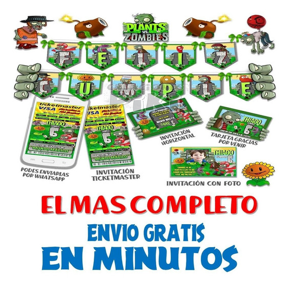 Kit Imprimible Candy Bar Plantas Vs Zombies El Mas Completo