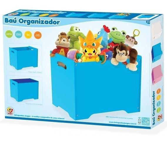 Bau Porta Treco Infantil Caixa Organizadora Armario Mdf Azul