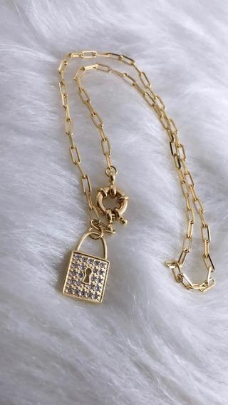 Choker Dourada Colar Feminino Banhado A Ouro +brinde Brinco