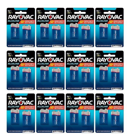 Bateria Rayovac Alcalina 9v - Kit C/12 Cartelas = 24 Unid