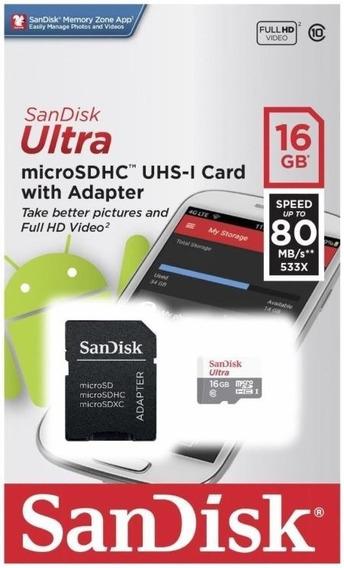 Ultra Micro Sd 16gb 80mbs Classe10 Original Sandisk Lacrado