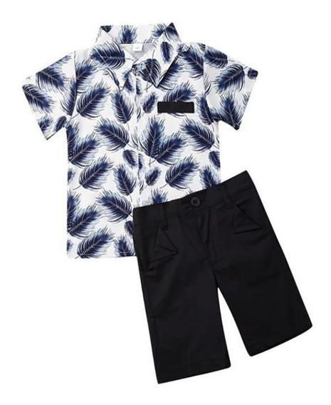 Ropa Para Niño Camisa Azul Y Short De Algodón
