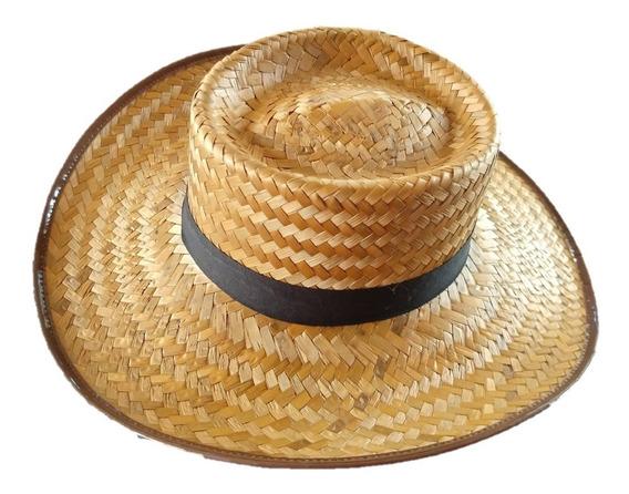 Sombrero Paja Tostado Copa Redonda Con Cinta Ala 10cm