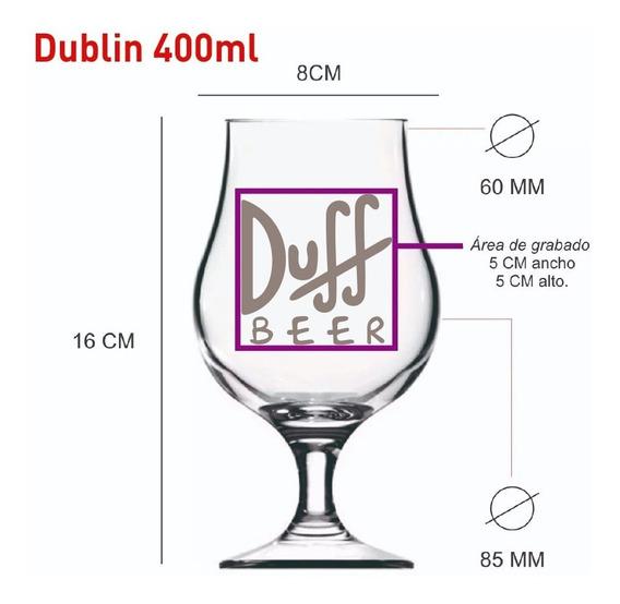 Vasos Vidrio Copa Dublin Pinta Cervecero Personalizado X12u