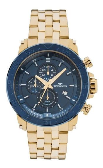 Relógio Technos Crono Dourado Caixa Grande Js15er/4a+frete
