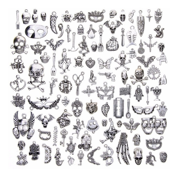 Bolsa 100 Dijes, Joyas, Colgantes, Plata Tibetana, Aleacion