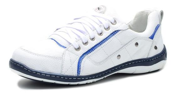 Sapato Sapatênis Casual Couro Nobre Sola Blaqueada