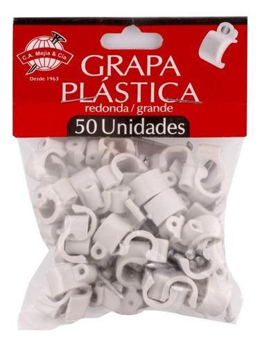 Grapa Plastica Redonda Para Cables X 500 Und