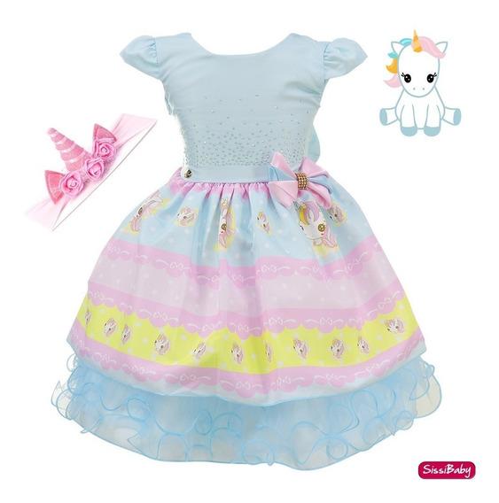Vestido Unicórnio Baby Festa Infantil Luxo Com Faixa Rosa