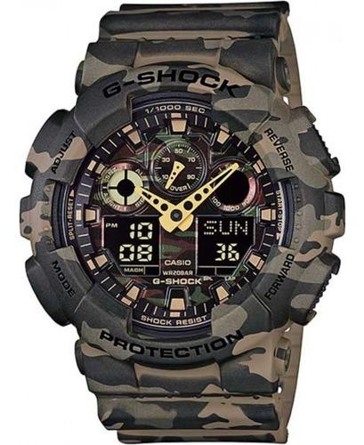 Relógio Casio G-shock Ga-100cm-5adr Camuflado Original + Nfe
