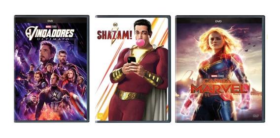 Dvd Vingadores Ultimato + Shazam + Capitã Marvel - Original