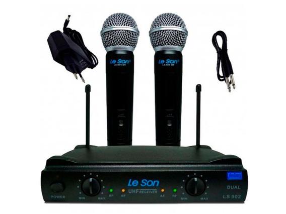 Microfone Duplo Sem Fio Ls902 Ht/ht Preto Leson
