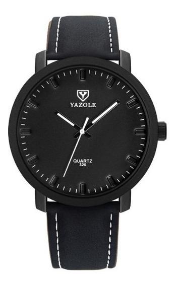 Relógio Masculino Yazole Couro Quartzo Lançamento
