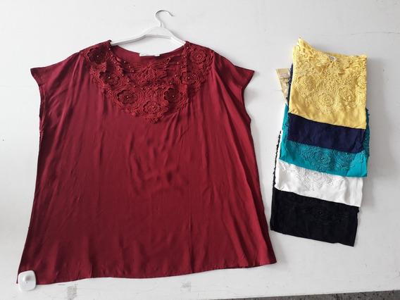 Blusa Plus Size Camisete Soltinha Babado Renda Gordinha