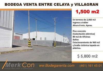 Bodega Venta 1,500 M2 Parque Por Lateral Cel-villagrán, Cel. Gto. Méx.