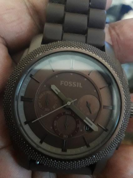 Relógio Fóssil Marrom Pulseira De Borracha