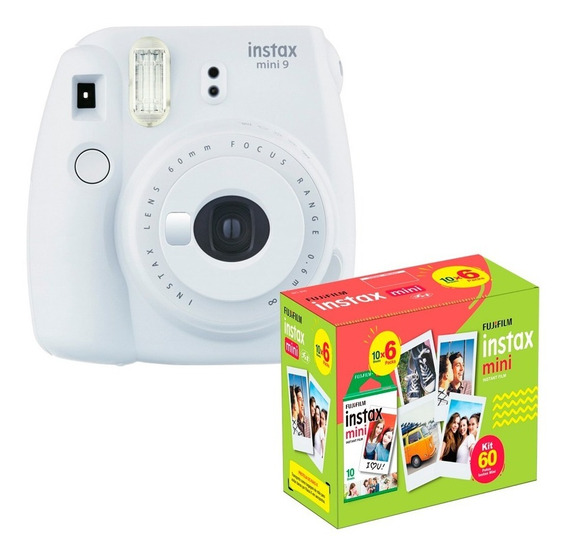 Kit Câmera Instantânea Mini 9 Branco Gelo + 60 Filmes